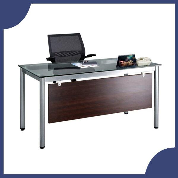 『商款熱銷款』【辦公家具】TSB-140G10mm強化清玻烤銀方形4E辦公桌辦公桌書桌桌子