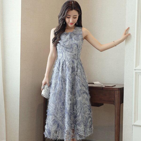 FINDSENSE服飾:FINDSENSEG5韓國時尚名媛優雅無袖圓領繡花中長款連身裙
