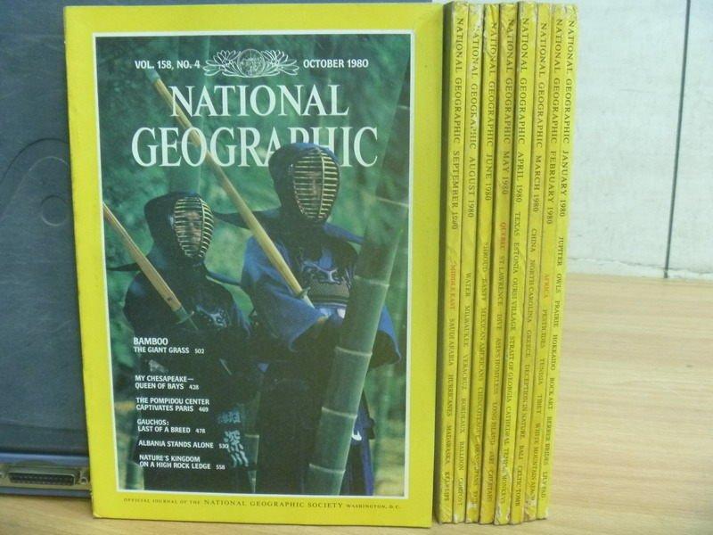 【書寶二手書T3/雜誌期刊_RGC】National Geographic_1980年1~10月期間_缺7月_共9本合售