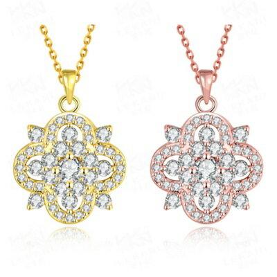 ~玫瑰金項鍊 純銀鑲鑽吊墜~精緻花朵母親節生日情人節 女飾品2色73br111~ ~~米蘭