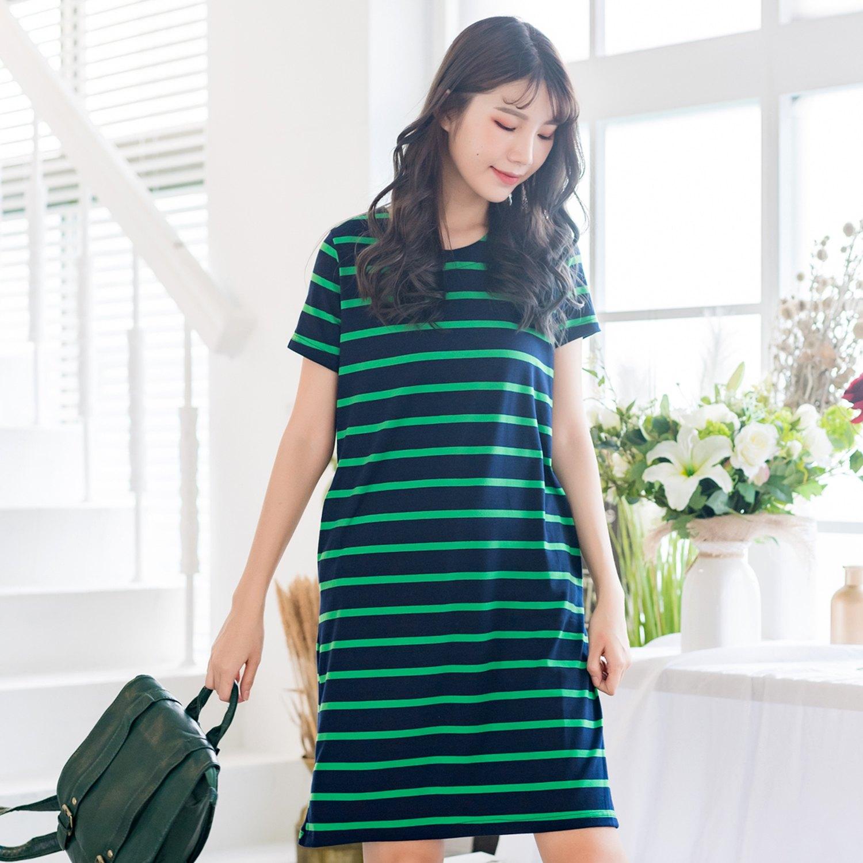 連衣裙--優雅休閒風格經典橫條紋口袋修身百搭圓領短袖洋裝(黑.紅.綠M-2L)-D517眼圈熊中大尺碼 0
