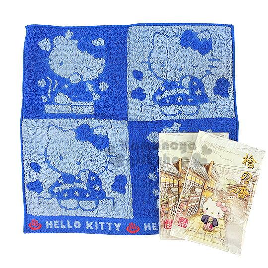 〔小禮堂〕Hello Kitty 小方巾《藍.和服.25x25cm》純棉舒適.附入浴劑