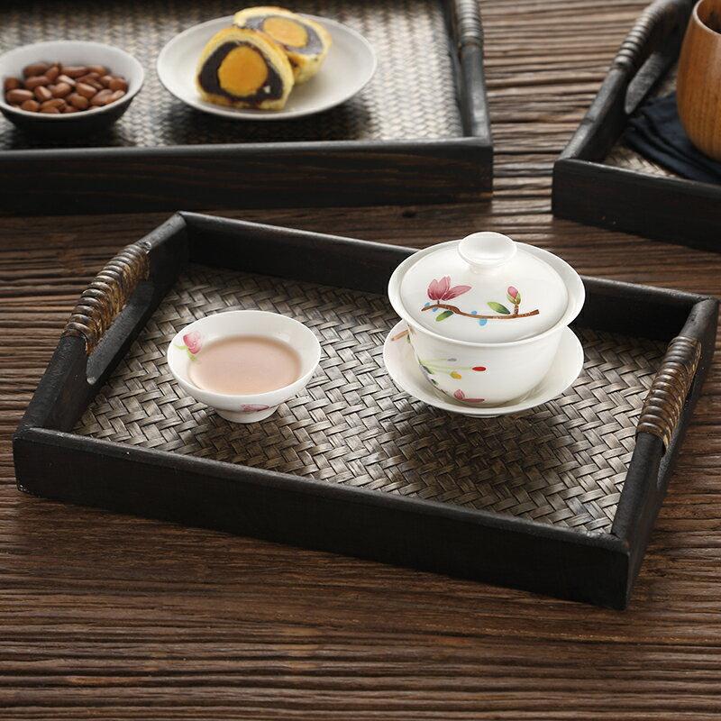 茶盤 藤編茶盤木托盤 泰式花盆托盤 長方形水杯茶杯托盤復古美容院托盤【送禮】【XXL4008】