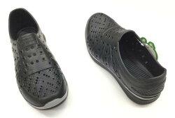 ※555鞋※黑色 海灘 防水 拖鞋 一體成形 氣墊 超舒適運動休閒洞洞鞋