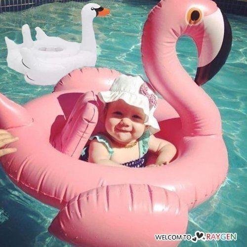 夢幻天鵝火烈鳥造型兒童充氣游泳圈 浮板 度假 海邊【庫奇小舖】
