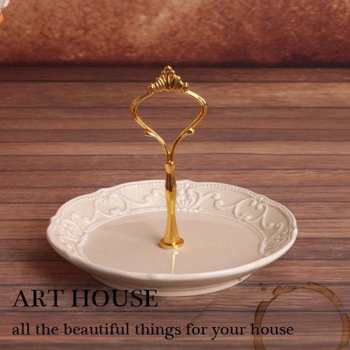 16.5cm歐式米色浮雕複古印花陶瓷裝飾果盤 蛋糕盤 糕點盤 零食盤(一個價)(圖一)