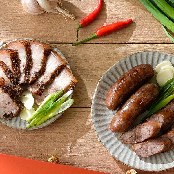 27號香腸:【屏東首選伴手禮】27號香腸(600克)+鹹豬肉(9兩上下x2條)組合★2018走春伴手禮盒