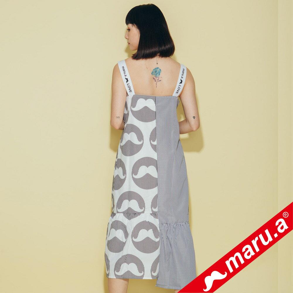 【maru.a】鬍子泡泡條紋拼接洋裝(2色)8327119 3