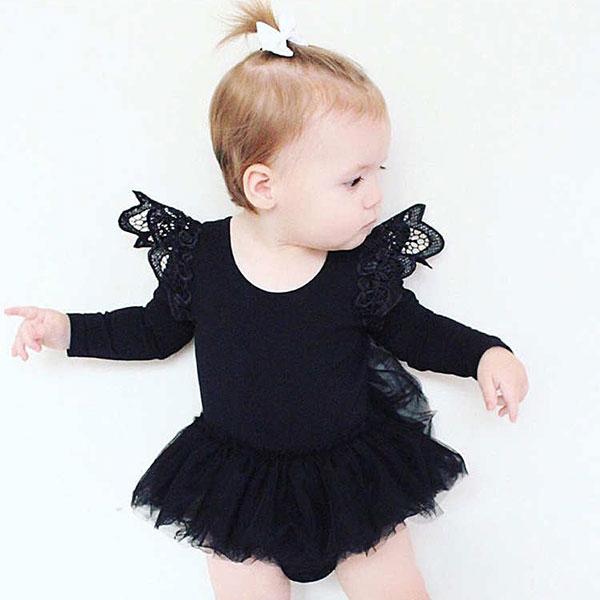 ins 飛袖 芭蕾舞 洋裝 包屁衣 長袖 連身裙 棉 小洋裝 紗裙 短裙 蓬蓬裙 蕾絲 黑白 歐美 公主 小禮服 ANNA S.