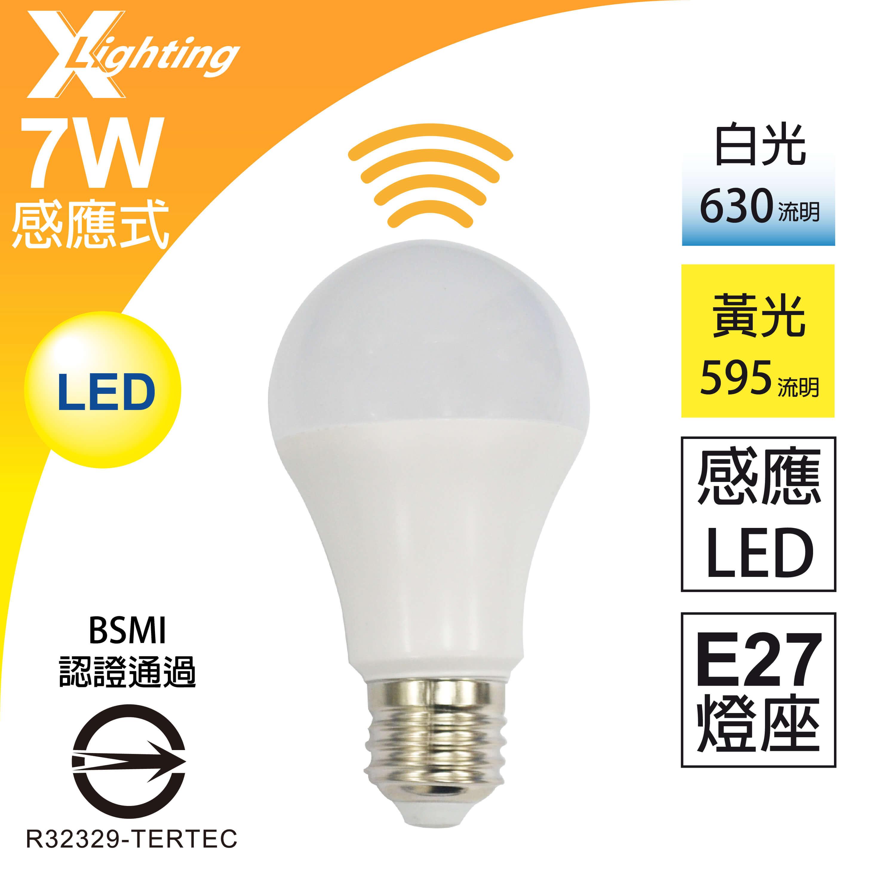 感應式 LED 7W E27(白/黃光)燈泡 全電壓 雷達微波 感應燈泡 EXPC X-LIGHTING(10W 5W 9W)