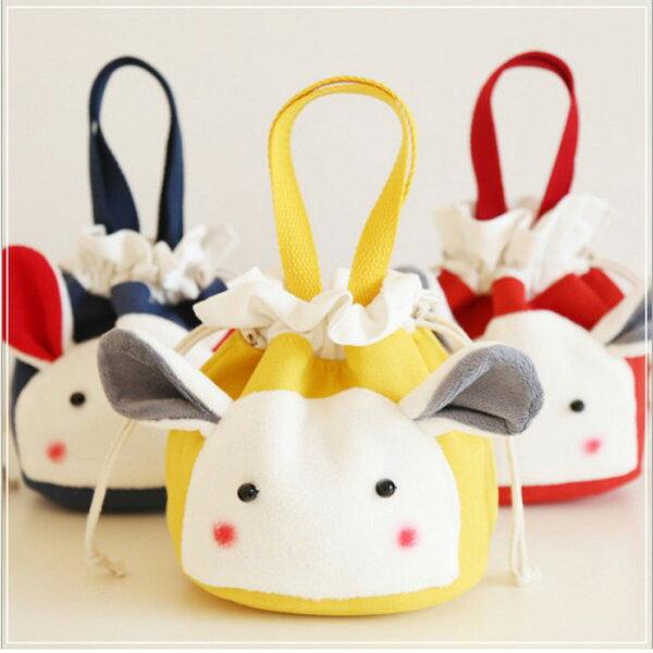 糖衣子輕鬆購【BA0049】卡通創意斜跨水桶包便當手提袋兔子可愛收納袋束口包