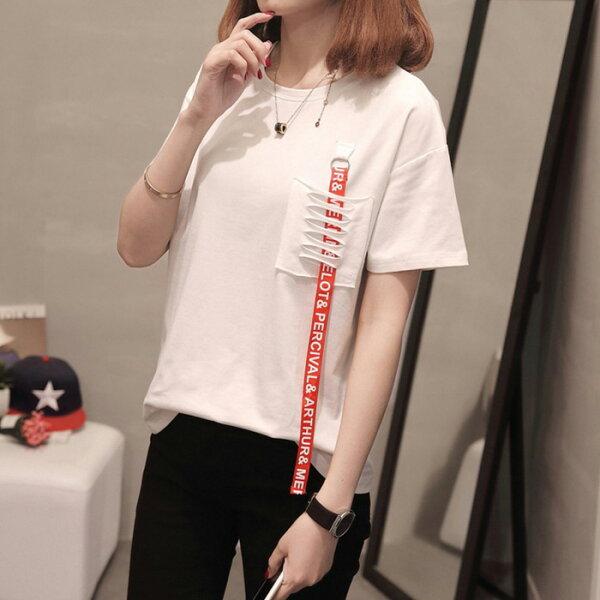 糖衣子輕鬆購【GH2303】韓版時尚字母印花破洞寬鬆圓領T恤上衣