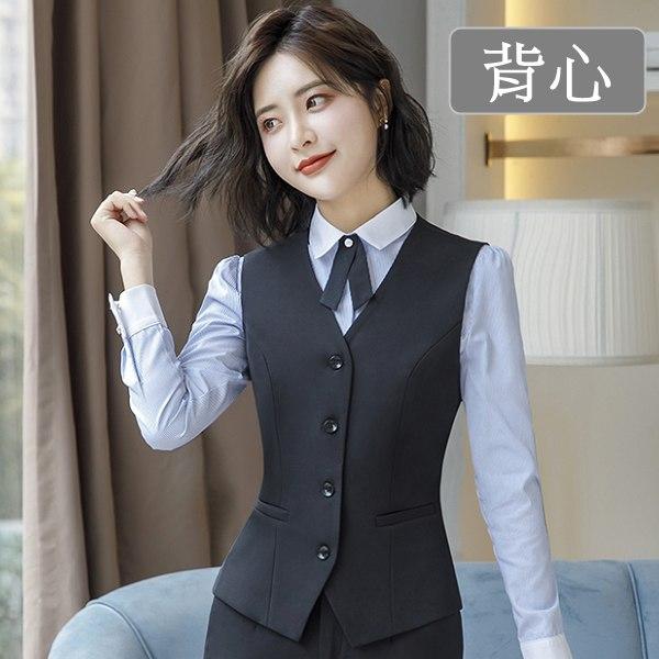 灰姑娘[8X070-PF]單色四粒釦職場OL上班背心~