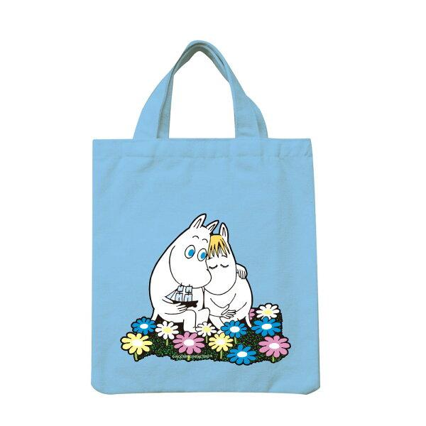 【嚕嚕米Moomin】手提帆布包-Fallinlove(水藍)