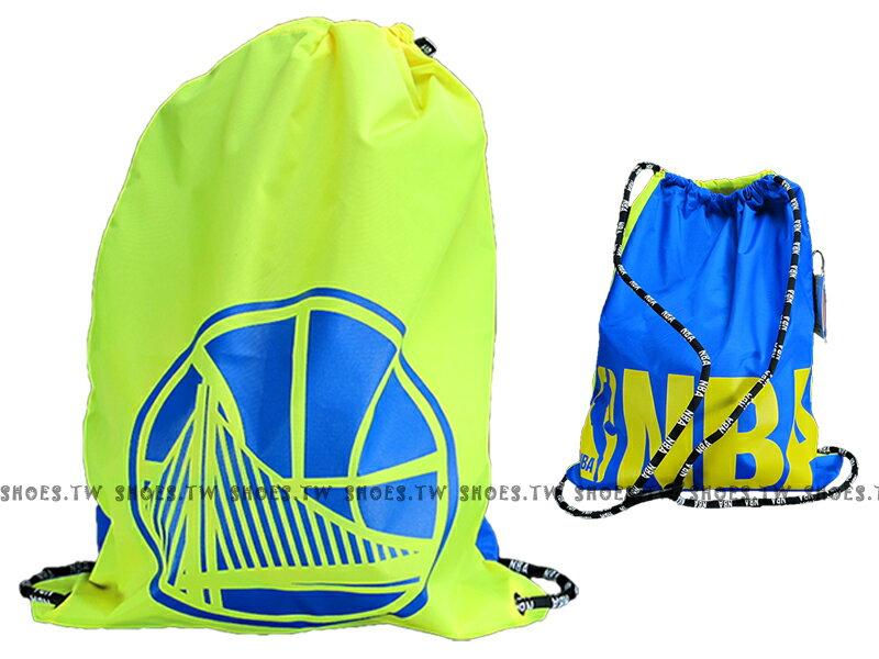 Shoestw【8461401-023】NBA 後背束口袋 鞋袋 勇士隊 黃藍 多用途