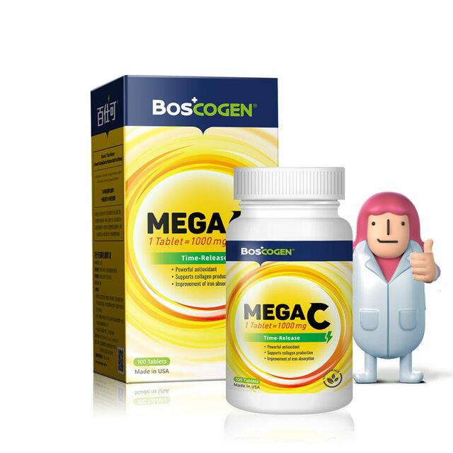 百仕可高單位緩釋 C 錠 MEGA C 高單位維他命C 抗氧化 促進膠原蛋白形成 補充活力 營養師推薦