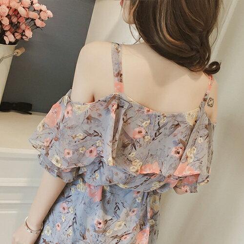 洋裝  甜美碎花一字領雪紡連身裙 【28085】 Blue Paris 3