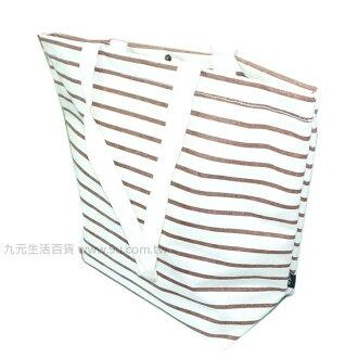 【九元生活百貨】船型條紋帆布袋 托特包 購物袋