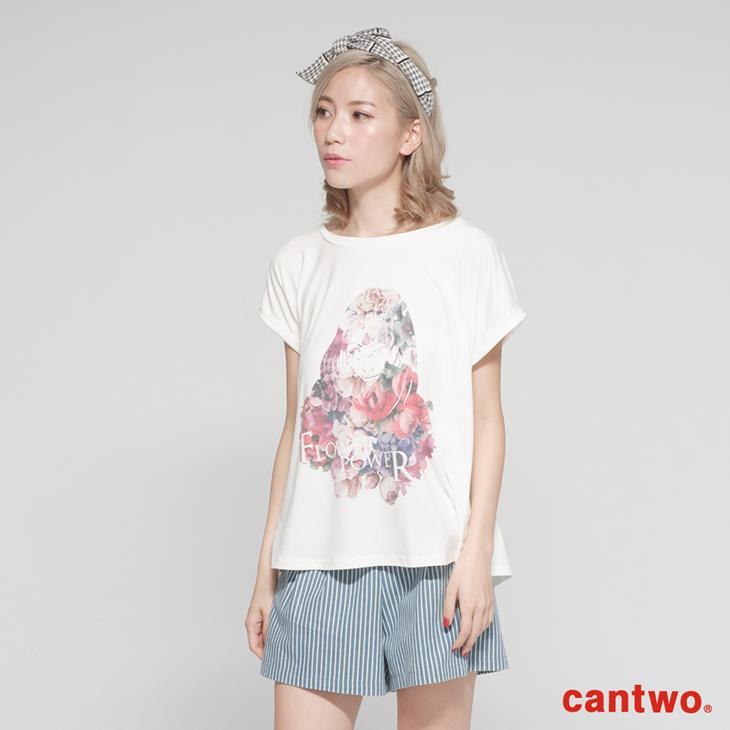cantwo糖果色花朵女孩短袖T(共三色) 1