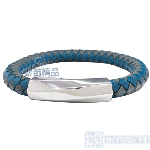 【錶飾精品】CK飾品KJ2BAB0902迷惘系列-皮繩編織藍+灰色男性手環316L白鋼全新原廠正品