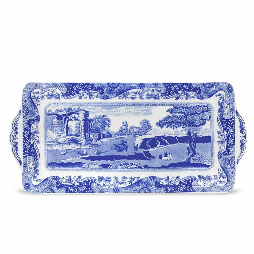 英國Spode 義大利藍 長形三明治盤