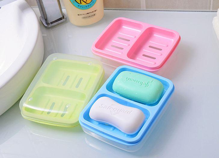 【省錢博士】創意家居雙體防水帶蓋皂盒 / 時尚雙格肥皂盒 / 瀝水塑料香皂盒 - 限時優惠好康折扣