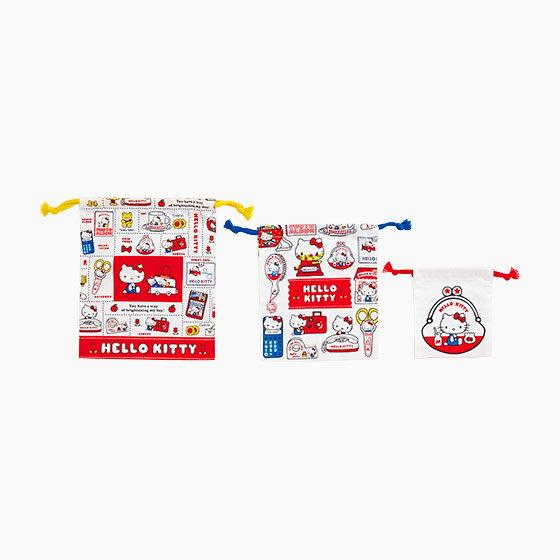 【真愛日本】4901610579909 日本製三入束口袋-KT懷舊紅AAZ 三麗鷗 Hello Kitty 凱蒂貓 束口袋 化妝包 收納