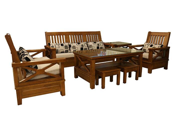 【尚品家具】648-24 星光 三毛櫸1+2+3人座整組木椅組/家庭沙發/客廳沙發/會客沙發/多件沙發組