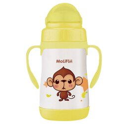 MoliFun 魔力坊 不鏽鋼真空兒童吸管杯/學習杯260ml-俏皮猴★衛立兒生活館★
