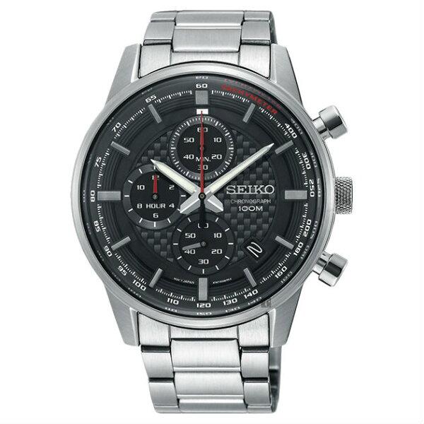 Seiko精工錶8T67-00G0D(SSB313P1)城市CS系列三眼計時腕錶銀色*黑面43mm