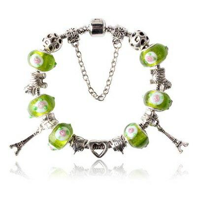 手鍊 潘朵拉元素串珠手鍊 925純銀~琉璃飾品綠色 鐵塔七夕情人節生日 女 73bm189