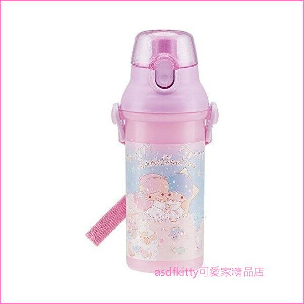 asdfkitty可愛家☆雙子星粉紫下午茶彈蓋直飲水壺-附背帶-480ML-PSB5SAN-日本製