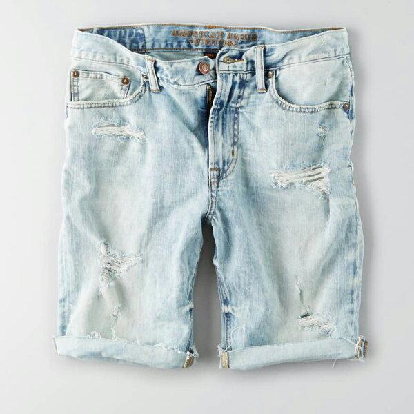 美國百分百【AmericanEagle】AE牛仔短褲五分褲牛仔褲單寧刷色抓破破壞淡藍3032333436腰G413