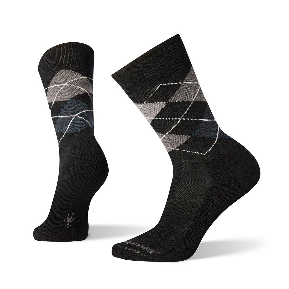 【【蘋果戶外】】Smartwool SW0SW819 016 黑/炭黑 鑽石稜格紋 日常超薄羊毛中筒襪 男襪 美國製造 美麗諾羊毛襪 排汗襪 保暖 吸濕 抗臭