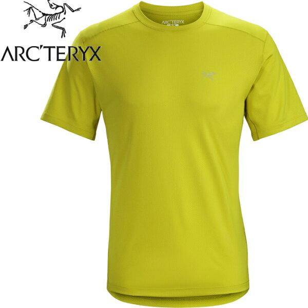 Arcteryx始祖鳥登山排汗衣圓領短袖排汗衣透氣控溫吸濕20987Velox男款澤凡綠