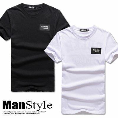 ~ ~任3件799元~ManStyle潮流 字母單字印花立體橡膠logo標圓領短袖T恤上衣
