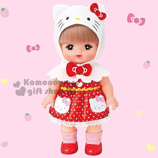〔小禮堂〕Hello Kitty X 小美樂娃娃 《紅.大臉KT.點點洋裝.站姿.盒裝》