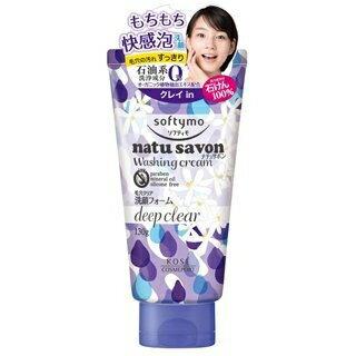 日本【KOSE】softymo natu savon毛孔清潔泡沫洗面霜-130g / 2015夏季新品!