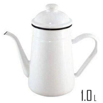 【日本富士FUJIHORO】B.M.S細口琺瑯壺-1.0L / 白 電磁爐對應