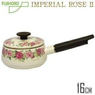 【日本富士FUJIHORO】皇家玫瑰單柄琺瑯鍋-1.3L 電磁爐對應