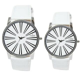 CLOIE 活力無限晶鑽時尚腕錶-白 37/43mm 男女對錶