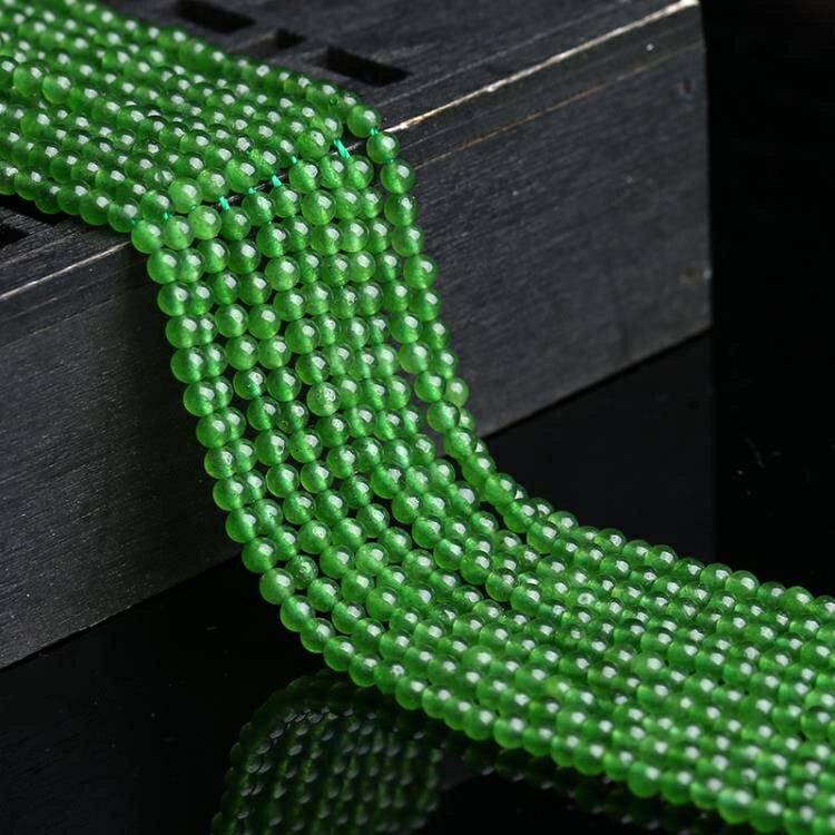 [超豐國際]石英巖玉2MM半成品綠玉髓散珠手工編織配件直通隔1入