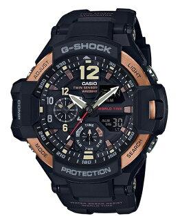 CASIOG-SHOCKGA-1100RG-1A黑金飛行雙顯流行腕錶黑面52mm