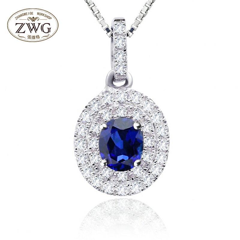 WGB~雙層微鑲鉆藍寶石項鏈925銀彩色寶石吊墜女~維格 超 夢幻項鏈情人節  生日 •0