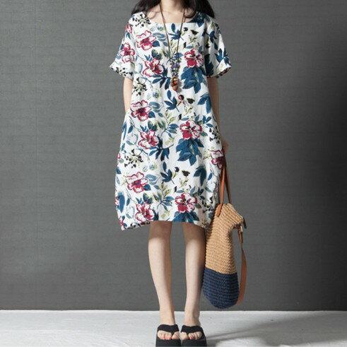 大花圓領棉麻連身裙 (白色,M~2XL) - ORead 自由風格 1