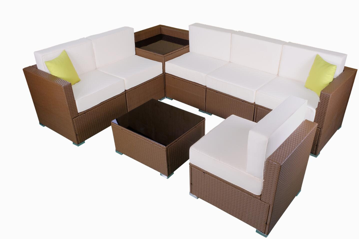 Mcombo Patio Furniture Sectional Sets Wicker Rattan Couch Sofa Chair Luxury Size 8 Pc Cream