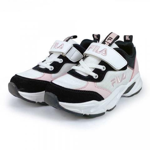 【FILA】兒童經典慢跑鞋(210/白黑粉) 2-J430V-105