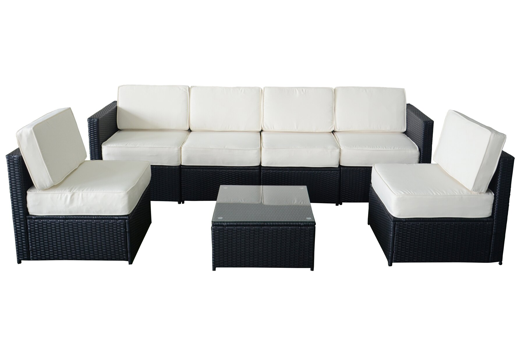 MCombo 7pcs Black Wicker White Cushion Patio Sectional Outdoor Sofa  Furniture Set 6085 S1007
