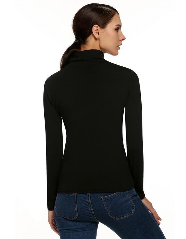 Women Long Sleeve Turtle Neck Slim Top Blouse 4