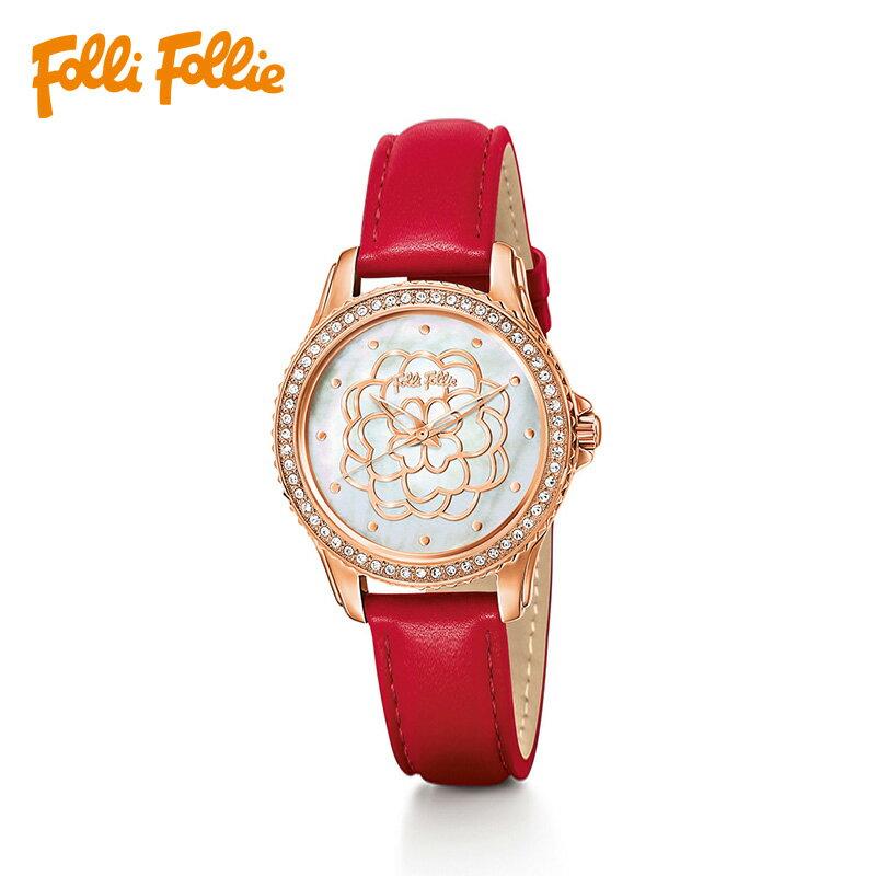 【鴞好物】Folli Follie Santorini Flower 聖托里尼花系列珠母貝真皮腕錶